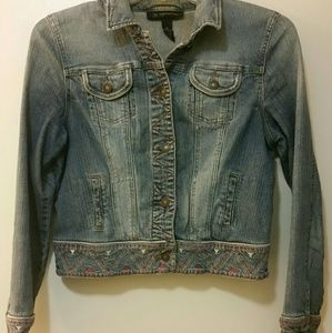 INC -  Petite Embroidered Jean Jacket